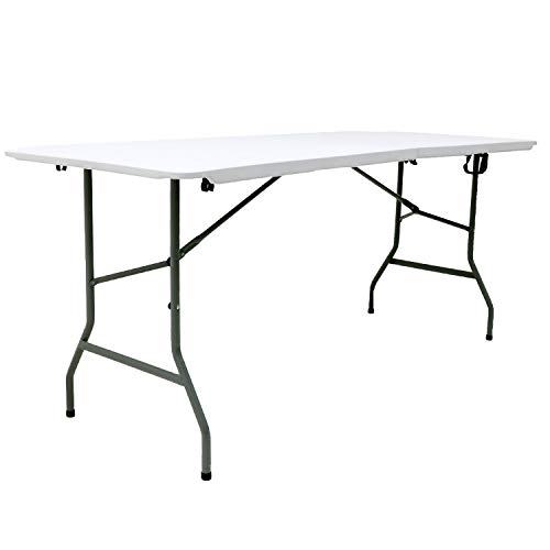 White, 6FT Easy Shop Folding Tables Rectangular Plastic Top Fold in Half Table 400 Kg Load Capacity with Steel Securing Pins 6-Foot