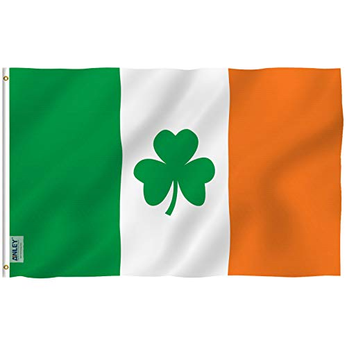 The Irish Flag (Anley Fly Breeze 3x5 Foot Ireland Shamrock Flag - Vivid Color and UV Fade Resistant - Canvas Header and Double Stitched - Saint Patrick's Day Clover Flags Polyester with Brass)