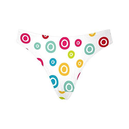 INTERESTPRINT Women's Colorful Polka Dots Low Rise Thong Underwear Panties XXXL Dot Low Rise Thong