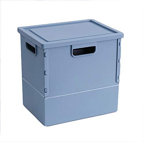 4ピース保育園オーガナイザースペース節約収納容器引き出しオーガナイザークレートボックス頑丈なプラスチックオーガナイザーユーティリティクレート蓋付き折りたたみ収納ボックス用カートランク収納ボックス,Blue B07QXK1J2J Blue