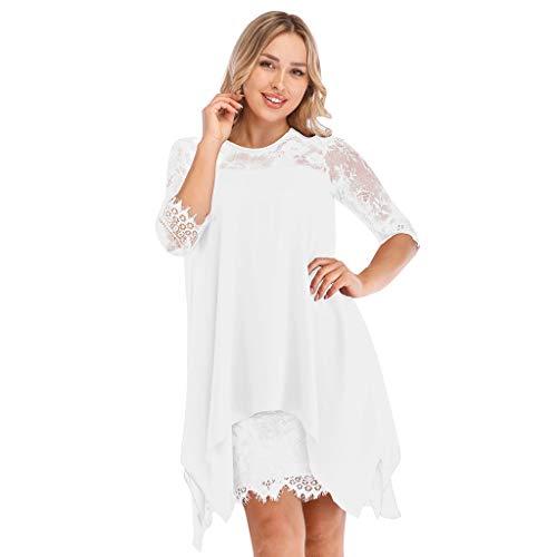 Women Lace Dress Oversize Dress, AgrinTol Women Chiffon Overlay Three Quarter Sleeve S-5XL (XXL, White)