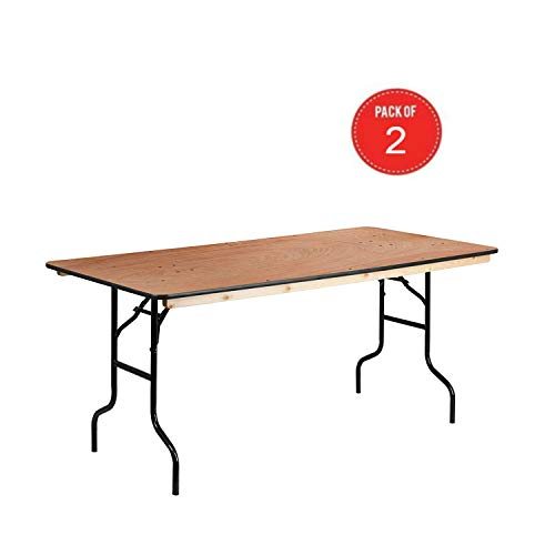 Flash Furniture 36'' x 72'' Rectangular Wood Folding Banquet Table with Clear Coated Finished Top (Brown - 2 ()
