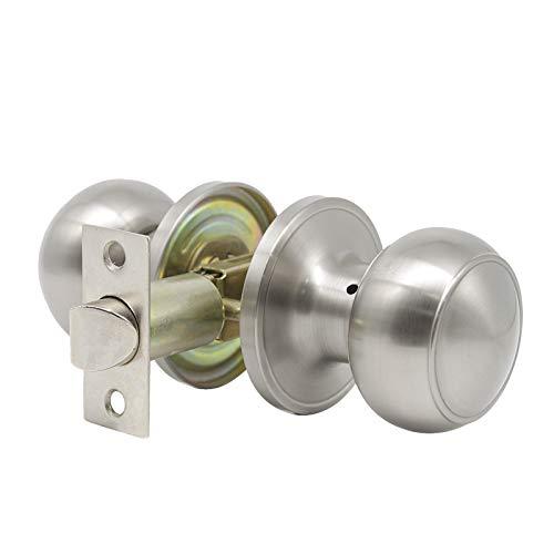 1 Pack Ball Shape Hall and Closet Door Knob,Keyless Stainless Steel Passage Door Knob,Classic Brushed Nickel Door Handles