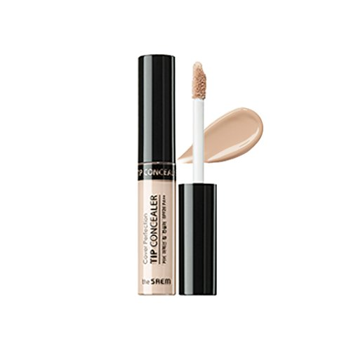 [the SAEM] Cover Perfection Tip Concealer SPF28 PA++ 6.5g #0.5 Ice Beige - High Adherence Concealer without Clumping and Cracking, Covers Blemishes, Freckles and Dark Circles