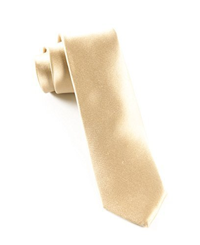 abe4f3b81508 The Tie Bar 100% Woven Silk Light Champagne Solid Satin 2 1/2 Inch ...
