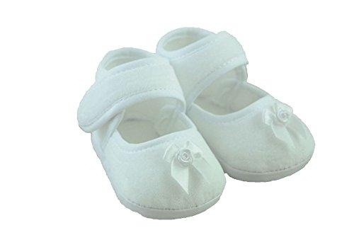 Taufschuhe Baby Taufe Mädchen Festliche Schuhe Weiß Hochzeit Schuhchen Velours-schuhe