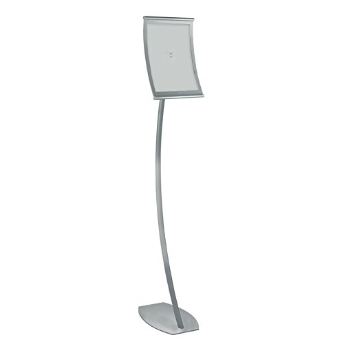 New Retail Curved Metal Floor Sign Holder 8.5''W x 11''H