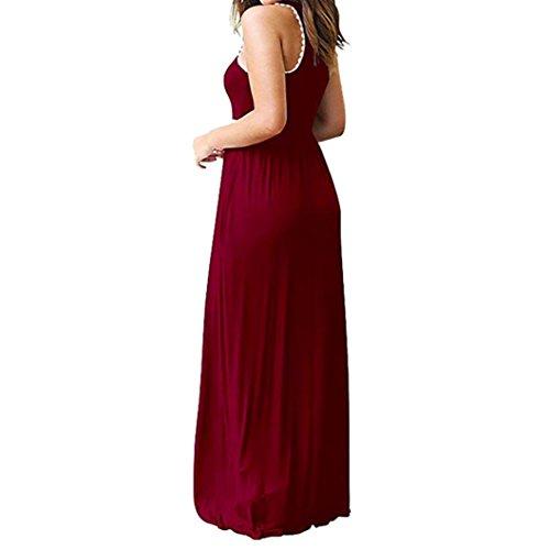 sans Casual Ete Printemps Femme Manche Poche Femmes Robe Rondes Longue Robe Longue Retro Robe avec Red Plage Wine Boheme Chic Les Maxi Manches axOXE4qw