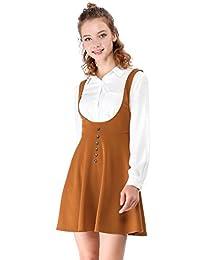 Allegra K Women's Button Decor Flared Hem Above Knee Dress Suspender Skirt