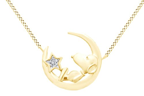 Round Cut White Natural Diamond Snoopy Star Moon Pendant In 925 Sterling Silver (0.02 ()