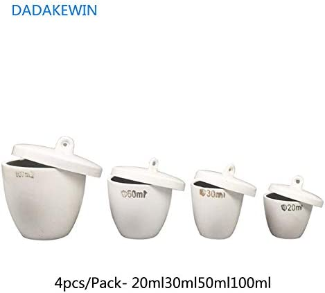 DADAKEWIN Porzellantiegel Mit Deckel, Hohe Form, Weiß, Hohe Temperaturbeständigkeit Der Laborchemie Equipment- Packung Mit 4-20ml30ml50ml100ml (Color : White, Size : 20/30/50/100ml)