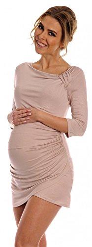 Happy Mama. Women's Maternity Long Sleeve Stretch Jersey Drape Tunic Top. 995p (Ecru, 12)