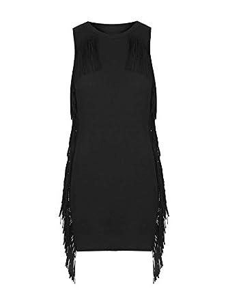 TOPSHOP Black Fringe Style Women Tunic Bodycon Mini Dress UK 8 Small RRP 36bp