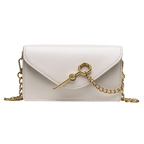 PENGY Beach Bags Women Fashion Pure Color Leather Shoulder Bag Crossbody Bag Messenger Chest Bags Handle Girl Leather White