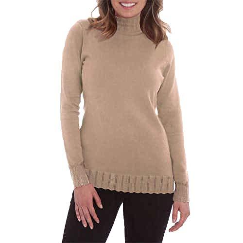 Joseph A Women's Pointelle Mock-Neck Sweater, Camel, Medium