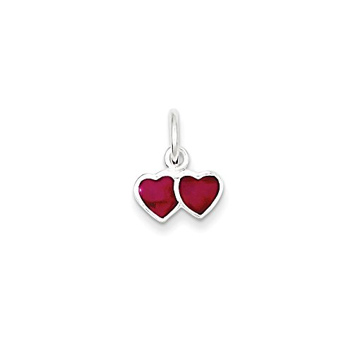 Mireval Sterling Silver Pink Enameled Double Heart Charm (15 x 11mm) - Enameled Heart Bead