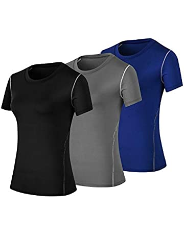 b587453d8 WANAYOU Women's Compression Shirt Moisture Wicking Performance Workout  Athletic Running Short Sleeve T Shirts