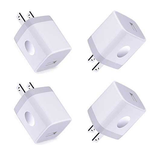 Single USB Port Wall Charger,Charger Adapter,HopePow 1A/5V 4Pack USB Charger Plug Charging Block Box Station Compatible for iPhone Xs/Max/XR/X/8,Samsung Galaxy S10/9/8/7,Moto, BlackBerry,LG and More (4 Adapter Iphone 5)