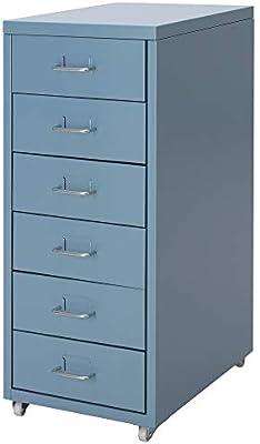 Ikea Helmer - Cajonera con Ruedas, Color Azul, Totalmente de Metal ...