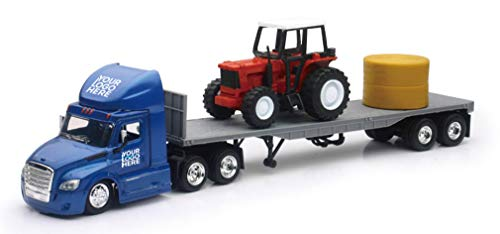 Shop72 Personalized Diecast Truck 1:43 Scale Freightliner Cascadia Flatbed with Farm Tractor Customized Your Logo, Image or Message - Blue