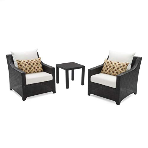 RST Brands Deco 2 Club Chairs & Side Table Set Moroccan Cream Cushions