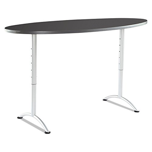 Office Realm Iceberg 69627 ARC Sit-to-Stand Tables, Oval Top, 36w x 72d x 30-42h, Graphite/Silver