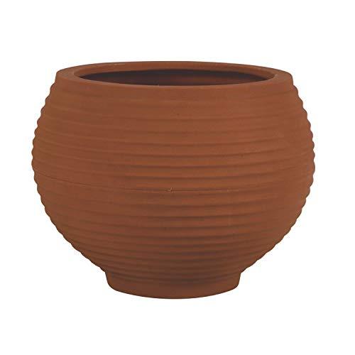 Vaso para Plantas Redondo em Polietileno 34 Esfera Latticce 27cmx23cm Japi Terracota