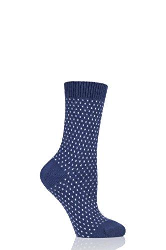 Pantherella Womens W756 Dotty 85% Cashmere Socks Pack of 1 Dark Blue 6-10