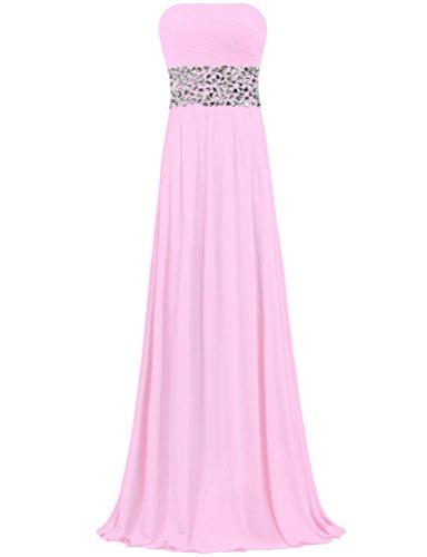Mousseline De Soie Sans Bretelles De Femmes Fourmis Cristal Longues Robes De Bal Du Soir Rose