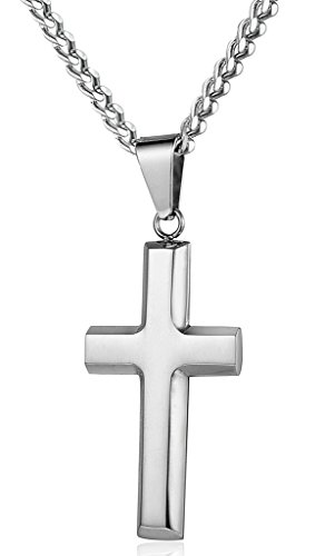 Jstyle Jewelry Mens Womens Stainless Steel Cross Necklace Pendant 22 24 Inch Chain by Jstyle