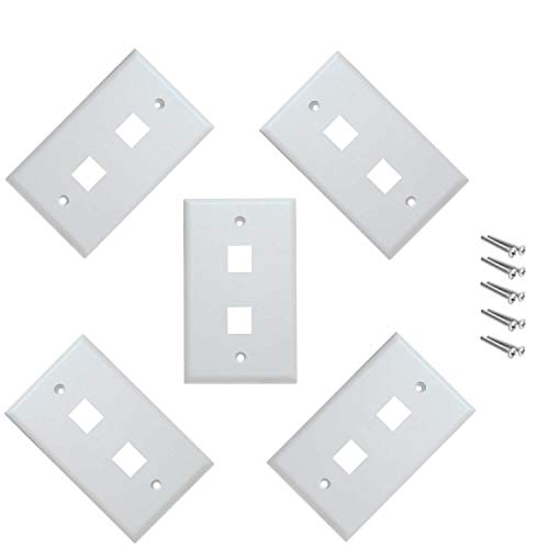 iMBAPrice 2 Port Keystone Jack Wall Plate 1-Gang - White (Pack of 5)