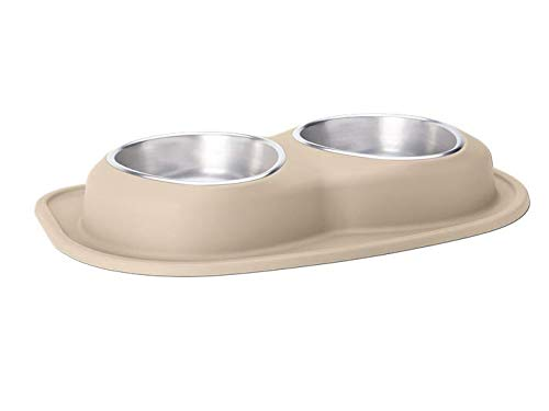 Beige 1.89LPetComfort Double Bowl 100% NonToxic, 100% Safe, Ergonomic, Black, Choose Your Size