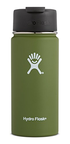 Hydro Flask 16 oz Double Wall Vacuum Insulated Stainless Steel Water Bottle / Travel Coffee Mug, Wide Mouth with BPA Free Hydro Flip Cap, Olive (Flask Plastic Travel)