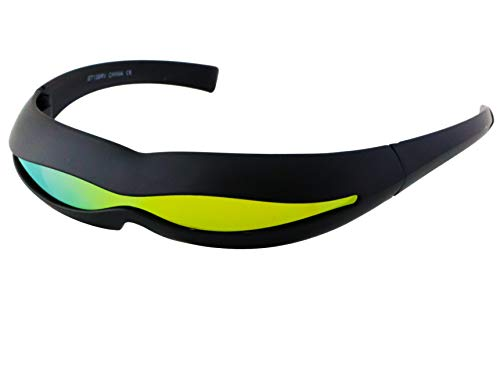 Futuristic Space Alien Costume Party Cyclops Shield Colored Mirror Mono Lens Wrap Sunglasses 147mm (Black and Red Mirror 2, 147)]()