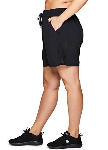 RBX Active Women's Plus Size Stretch Woven Workout Drawstring Short S19 Black -