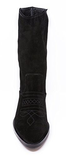 BOBERCK Vera Collection Women's Embroidered Suede Mid Calf Boots Black LXgFPlfa