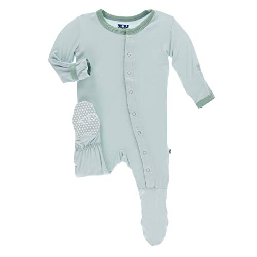 Newborn Boys Pant - Kickee Pants Little Boys Solid Footie with Snaps - Spring Sky with Shore, Newborn