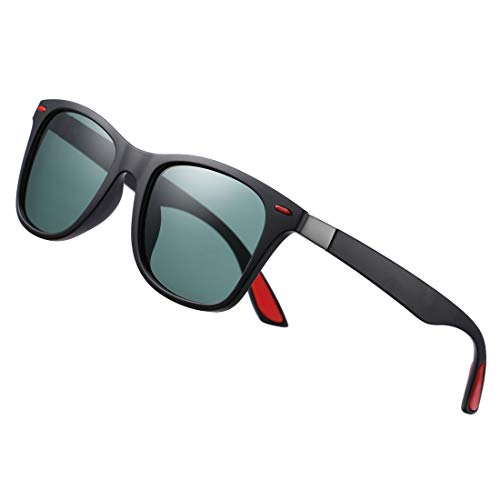COASION Polarized Sunglasses for Men Ultra-light Square Black Driving Sun Glasses (Matte ()