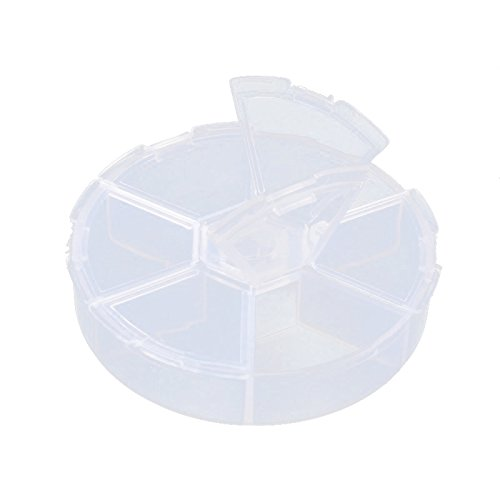 Pandahall 20pcs 3 Inch Diameter Plastic Bead Storage Containers 6 Grids Transparent Clear Round Jewelry Boxes Organizer