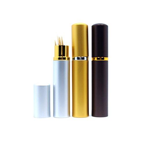Terya Portable Toothpick Holder Toothpick Pocket Toothpick Holder 3pcs(Coffee&Golden&Silver)