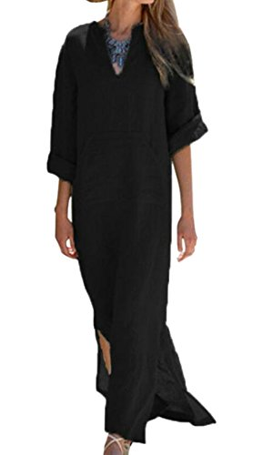 Classic Domple Split Long Black Loose Pockets 4 Sleeve 3 Neck V Dress Women wqwAfRY