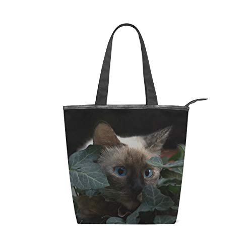 Your Home Canvas Tote Bags Cat Burmese Blue Eyes Hidden Top Handbags Casual Shoulder Travel Bag With Zipper For Women