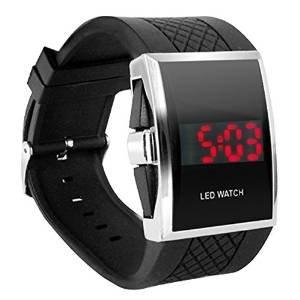 07319c609 JewelTime Luxury Digital Mens Red LED Light Sport Wrist Watch Gift Style -  Black: Amazon.co.uk: Watches