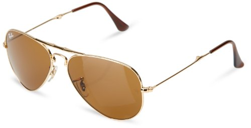 Ray-Ban AVIATOR FOLDING - ARISTA Frame CRYSTAL BROWN Lenses 55mm - Ban Ray Sunglasses Folding Aviator