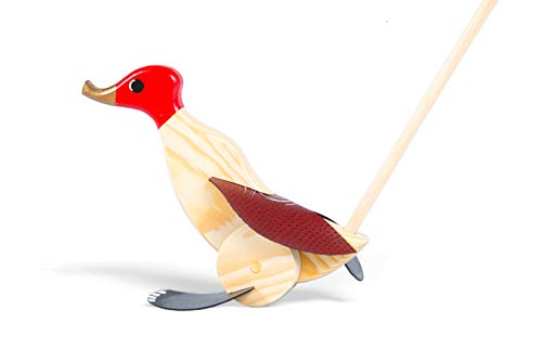 Wooden Push Pull Activity Walking Toy Duck (Red) - Toddlers 18 Months to 6 Year Old Kids