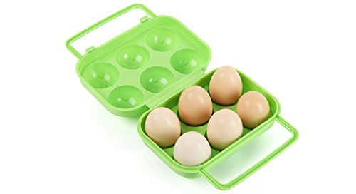 VolksRose Portable 6 Eggs Slots Holder Shockproof Storage Box for Camping Hiking Green