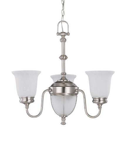 Glass Frosted Tier 1 Chandelier - Nuvo 60/2804 3 Light Chandelier with Frosted Linen Glass Shades