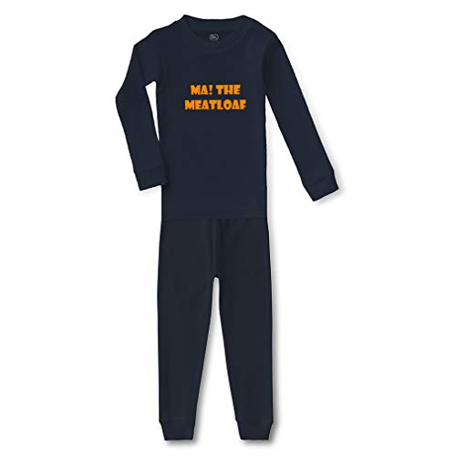 Ma! The Meatloaf Cotton Crewneck Boys-Girls Infant Long Sleeve Sleepwear Pajama 2 Pcs Set Top and Pant - Navy, 5/6T -