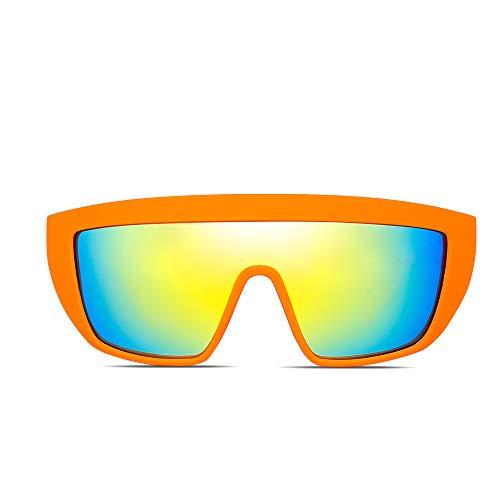 7edf10f41f260 Fashion Mirror Flat Top Shield Sunglasses Polarized Flash Glasses for Men  Women (Orange Polarized Flash Gold)