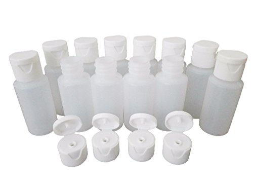 (Kelkaa 1oz HDPE Durable Plastic Travel Size Bottles with White Flip Top Cap Natural Clear Containers for Any Liquid Products, Multi Purpose Refillable Empty Bottles (Pack of 12))